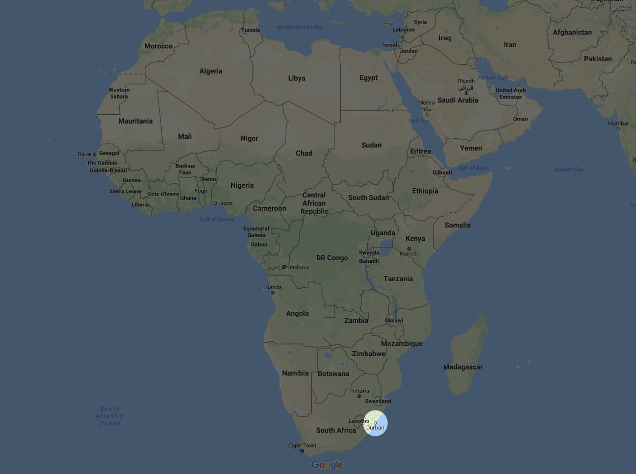 Map of Durban South Africa Durban Poison
